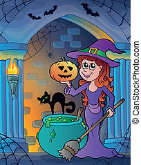 Wall alcove with Halloween theme 4 - eps10 vector...