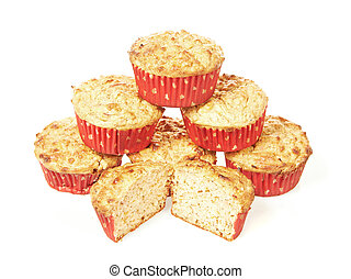 Low calorie muffins isolated on a white background