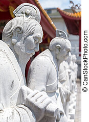 Confucian Temple in Nagasaki, Japan - 72 followers statues...