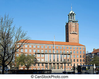 Frederiksberg town hall with blue sky in the background