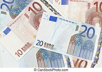 Eurozone currency - Closeup shoot of Eurozone bills