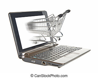 Computer e-shopping - Shopping cart driving in the screen on...