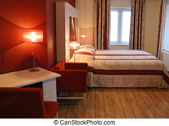 Hotel room in red