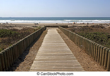 Wooden Slatted Walkway Leading onto Beach in Durban South...