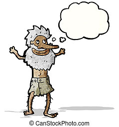 cartoon old hermit man