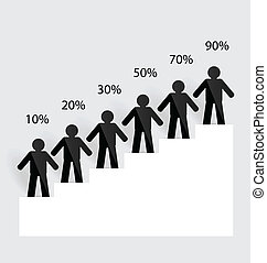 Business man on growing graph. Vector illustration.