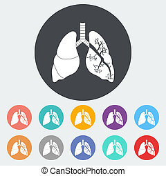 Lungs in Black and White. Single flat icon on the circle....