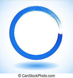 Blue paintbrush circle vector frame