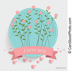 Note paper with ribbon, heart and floral bouquets, vector...
