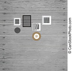 Vintage frame on the wood wall, vector illustration.