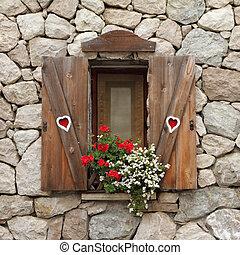romántico, ventana
