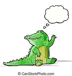 friendly cartoon alligator