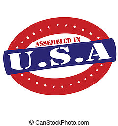 Assembled in USA - Stamp with text assembled in USA inside,...