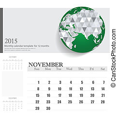 Simple 2015 calendar, November. Vector illustration.