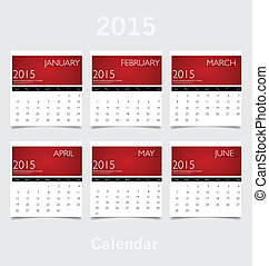 Simple 2015 year calendar (January, February, March, April,...