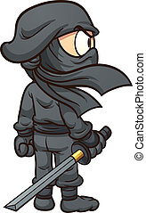 Cartoon ninja seen from behind. Vector clip art illustration...