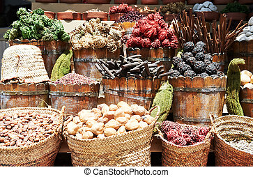 spices at east street market - spices herbs and fuits in the...