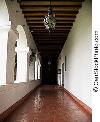 Exterior hall of Historic Santa Barbara Courthouse