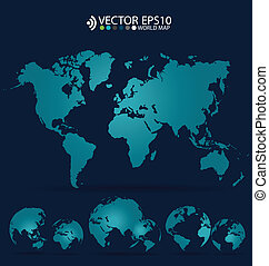 Modern world map design, vector illustration.