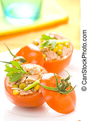 tuna stuffed tomato celery corn soya bean - tomatoes stuffed...