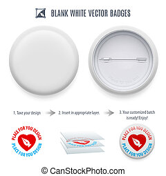 Badge - Blank white badge template with copy space for your...