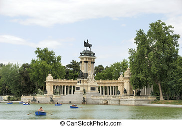 Retiro Park in Madrid, Spain - Retiro Park with the Alfonso...