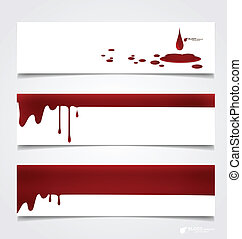 Happy Halloween design banners. Blood dripping on paper,...