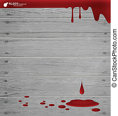 Blood dripping on wood wall, blood background. Vector illustrati