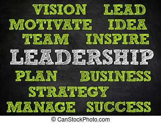 concepto,  -, pizarra, liderazgo