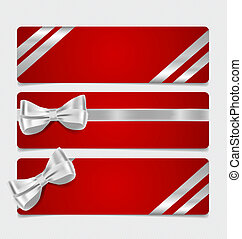 Cards with gift bows and ribbons. Vector illustration.