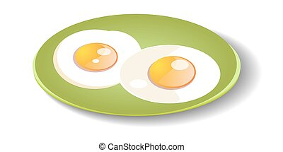 Fried eggs on a plate.
