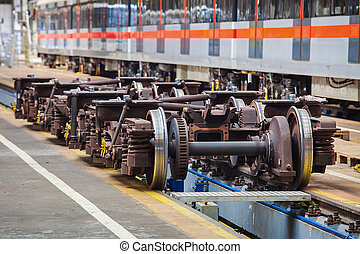 Undercarriages for maintenance of subway wagons in workshop...