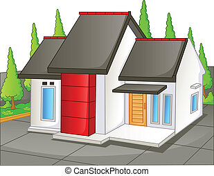 House with yard - Vector illustration of House with yard