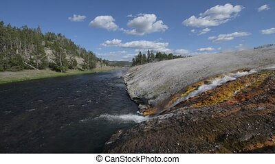 Firehole River Yellowstone National - Wide angle shot of...