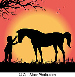 child petting a horse - silhouette of child petting a horse