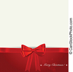 Christmas background. Shiny ribbon on red background. Vector...