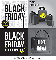 black friday - a set of black and white backgrounds for...