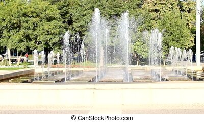 Water Fountain. Modern fountain in a park
