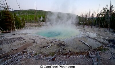 Cistern Spring Norris Geyser after sunset Yellowstone...