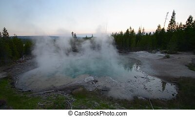 Emerald Spring Norris Geyser after sunset