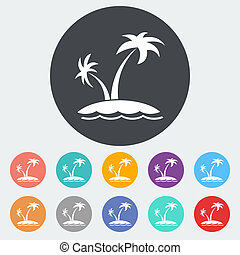 Palm tree. Single flat icon on the circle. Vector...
