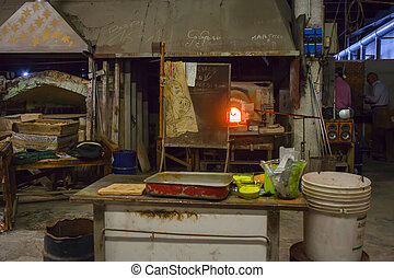 Murano furnace - View of the famous Murano furnace, Italy