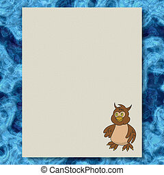 Owl writing paper marble texture background