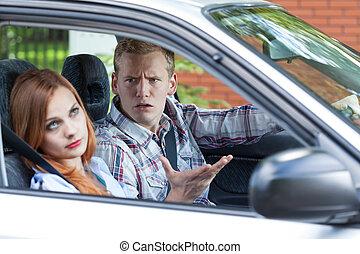 Quarrel in a car - Horizontal view of quarrel in a car