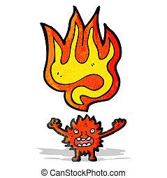 cartoon little fire imp