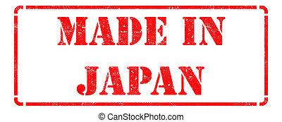 Japão, feito, vermelho, selo