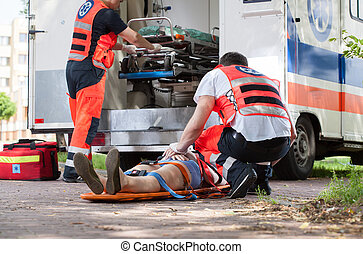 Paramedics during their work - Horizontal view of paramedics...