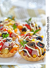 Holiday Appetizers on the platter - Holiday Appetizers with...