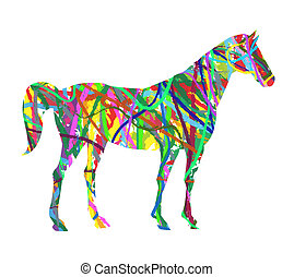 Abstract horse made up of colors
