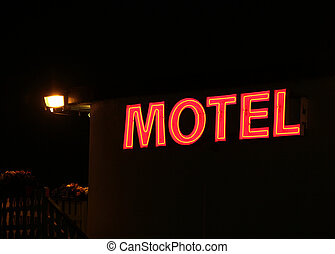 motel sign - red motel sign at night